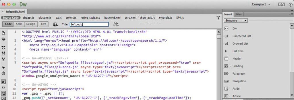 Adobe Dreamweaver HTML/CSS editor